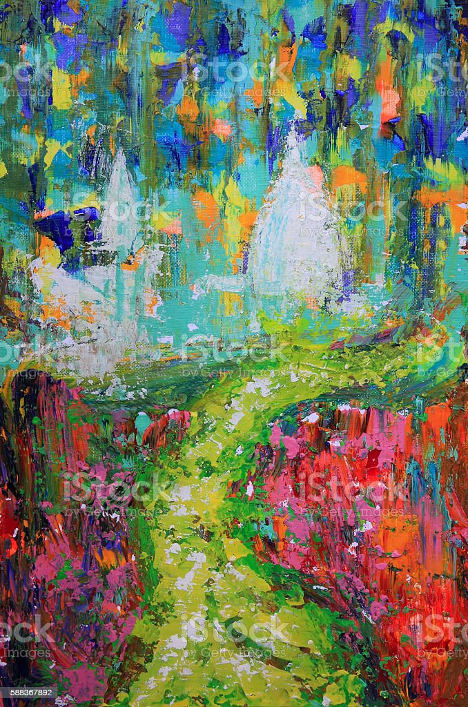 Abstract art painting of the way and churches vector art illustration