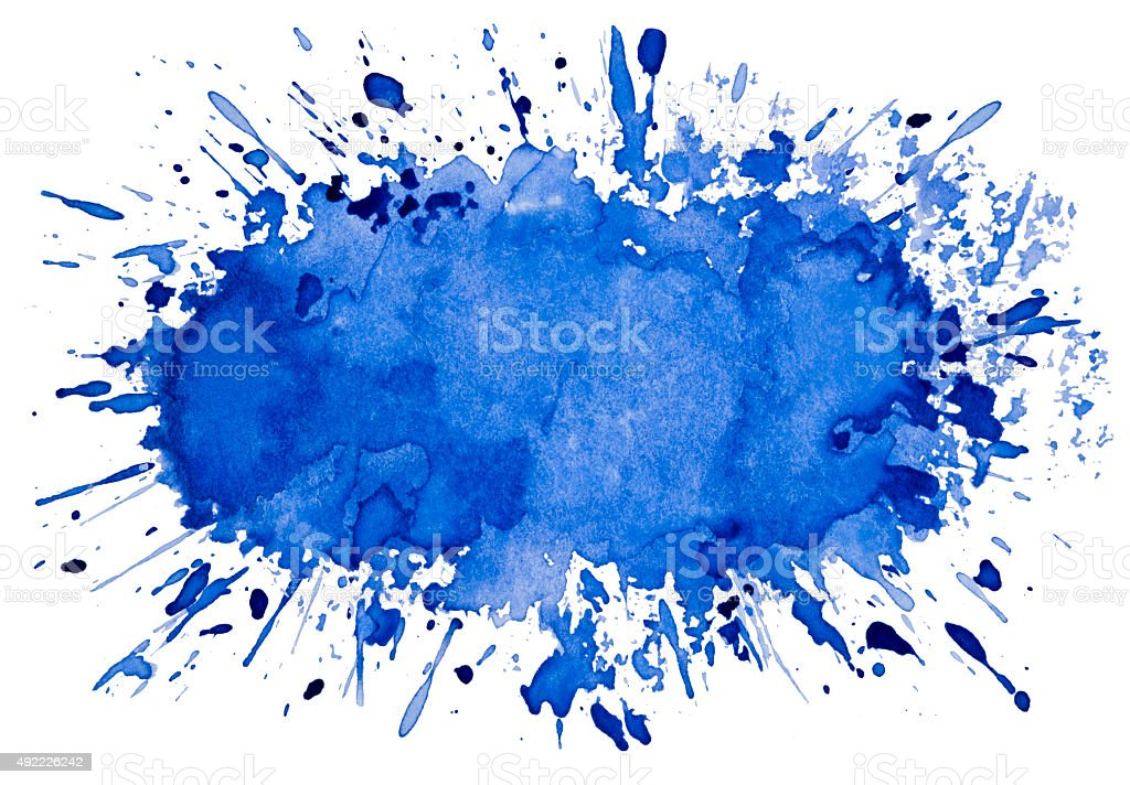 Abstract artistic blue watercolor splash object background vector art illustration