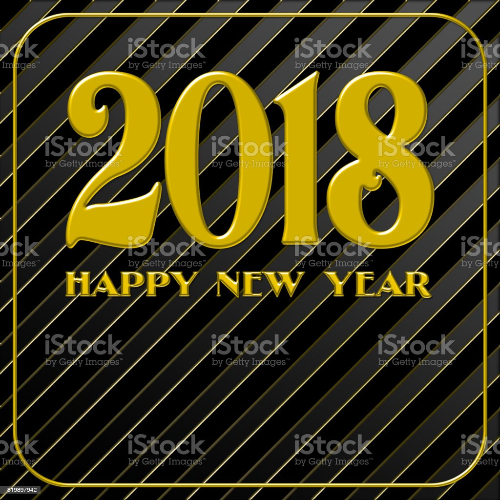 Abstract black background. Diagonal lines and strips, with a slight of gold in between. 2018 Golden text on black background. Happy New Year lettering for invitation and greeting card, prints and posters. vector art illustration