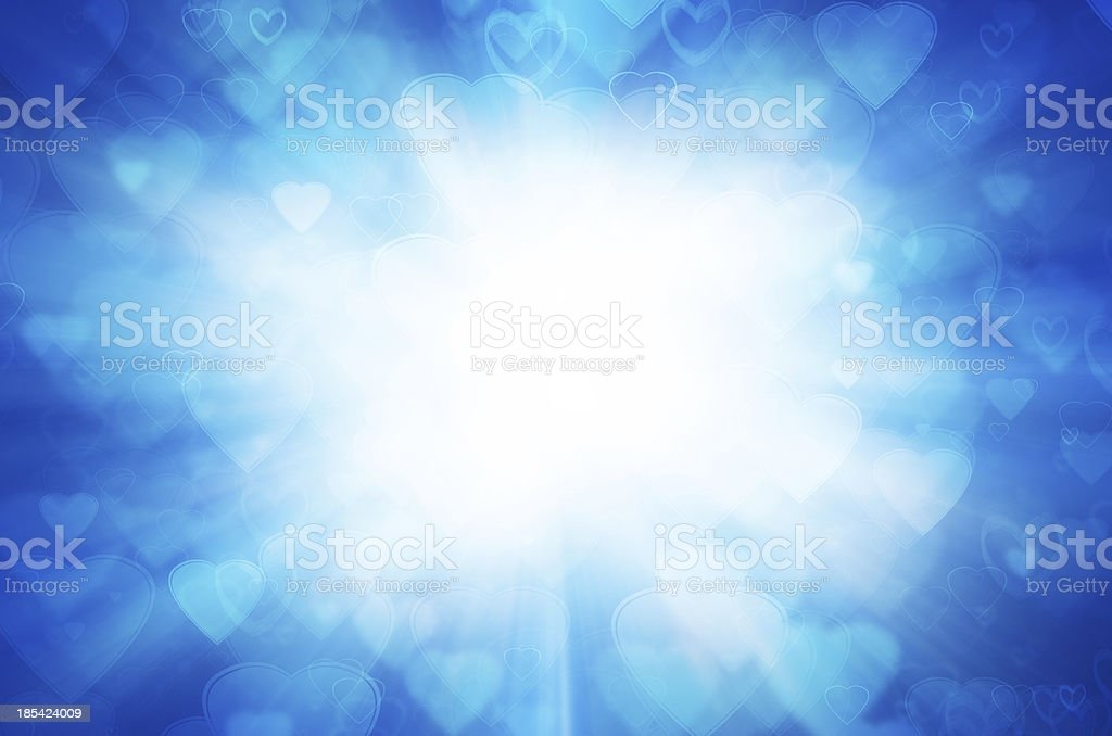 Abstract blue background with light of heart. royalty-free stock vector art