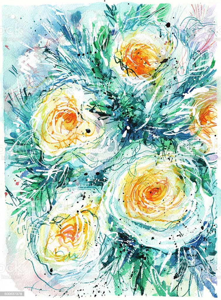 Abstract bouquet of white flowers with a yellow center vector art illustration