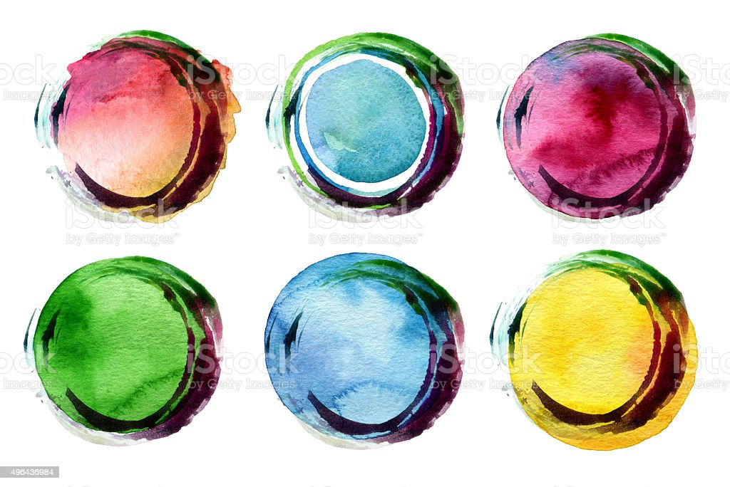 Abstract circle acrylic and watercolor painted background. vector art illustration
