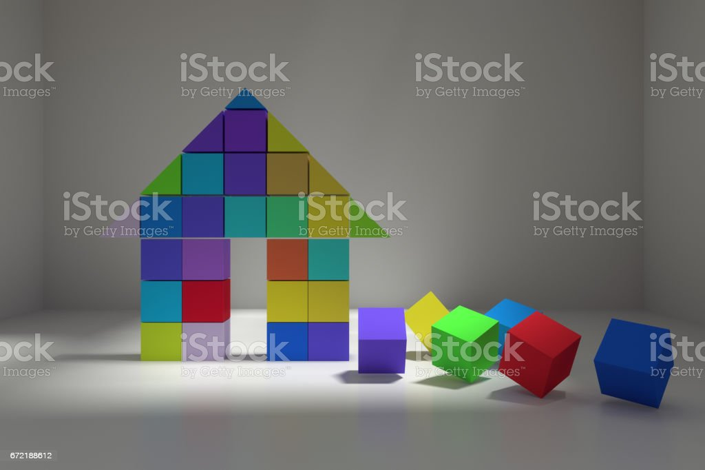 abstract colorful cubes house vector art illustration