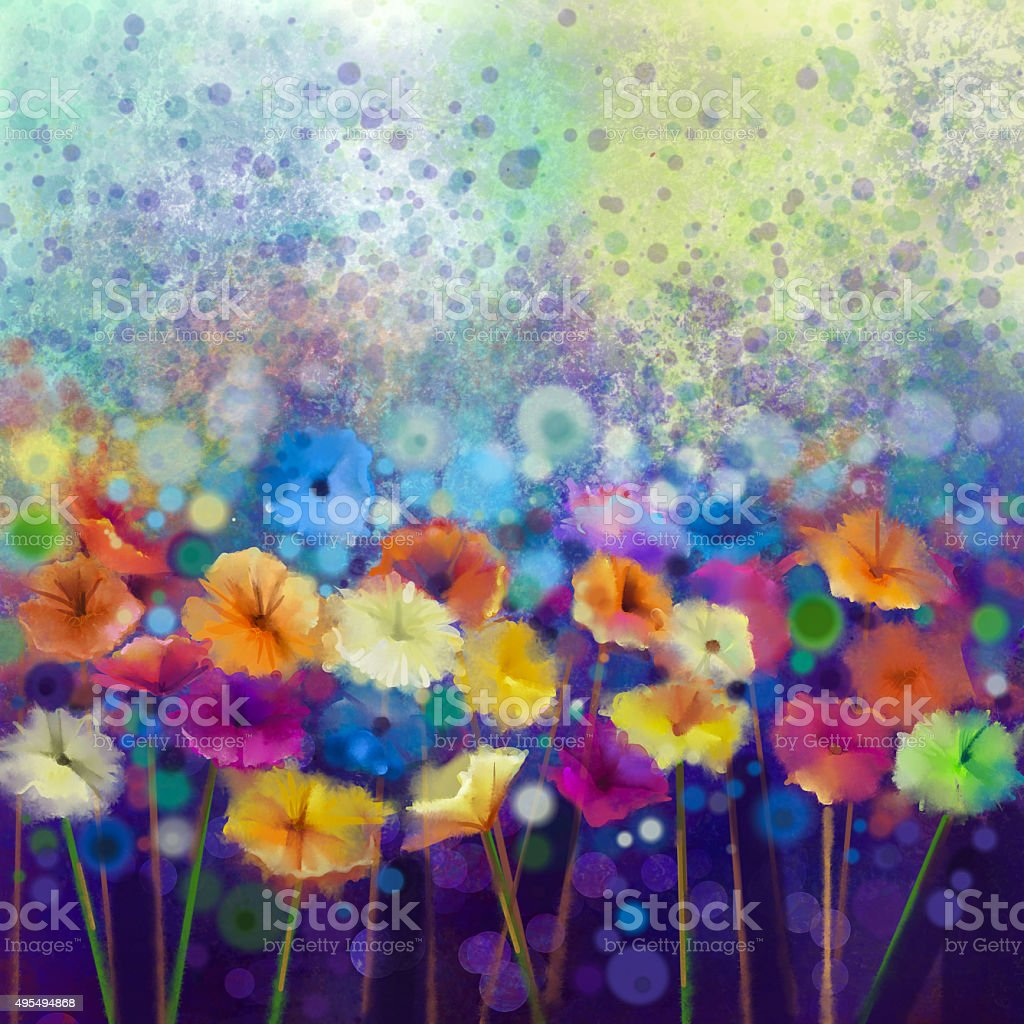 Abstract daisy- gerbera flowers, watercolor painting vector art illustration