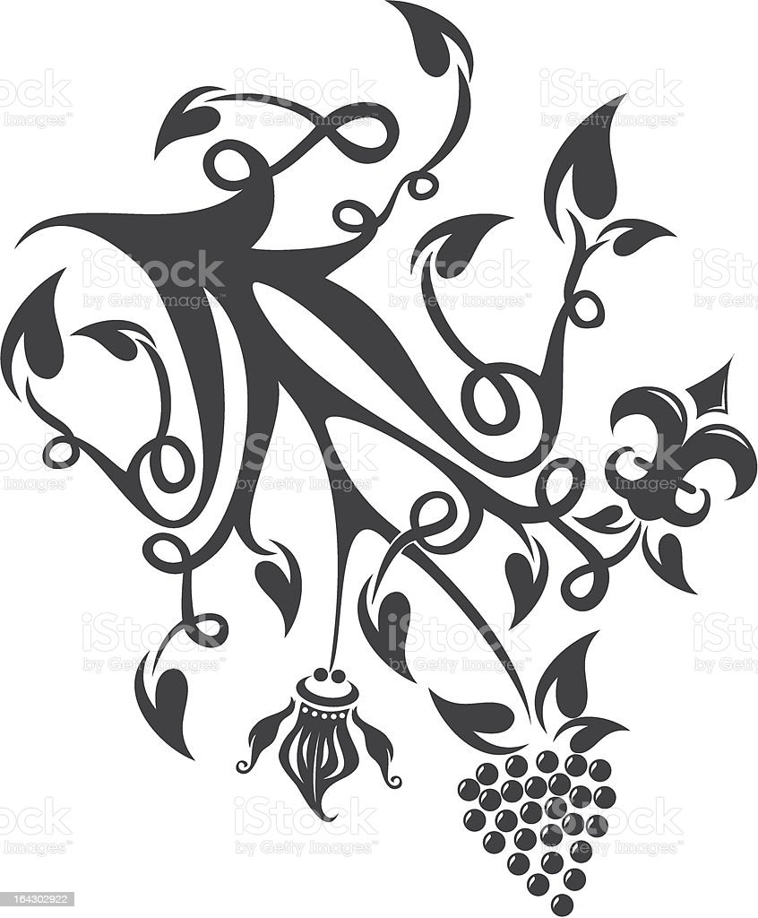 Abstract floral scroll royalty-free stock vector art
