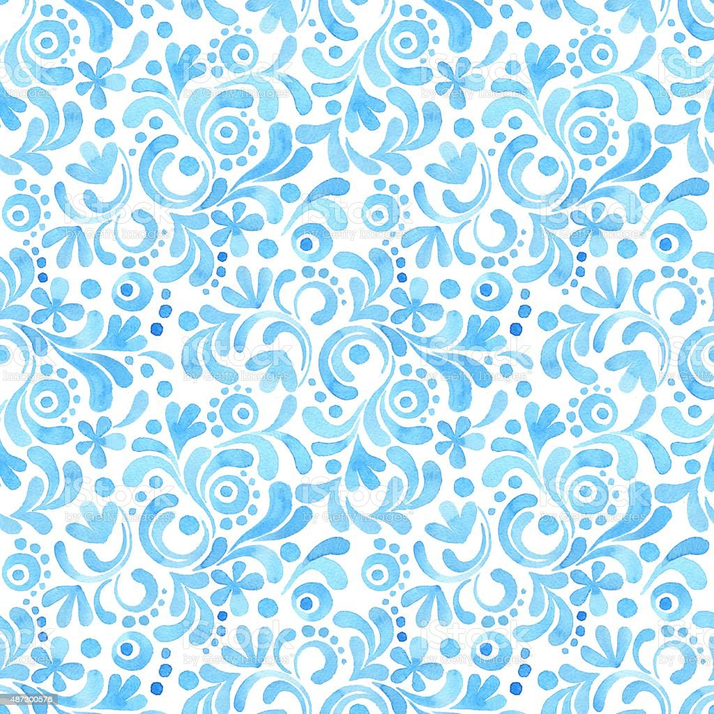 Abstract floral watercolor pattern vector art illustration
