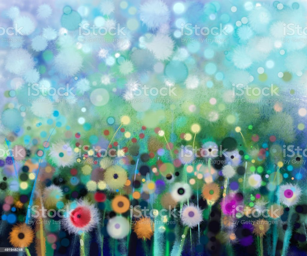 Abstract flowers dandelion, watercolor painting. vector art illustration