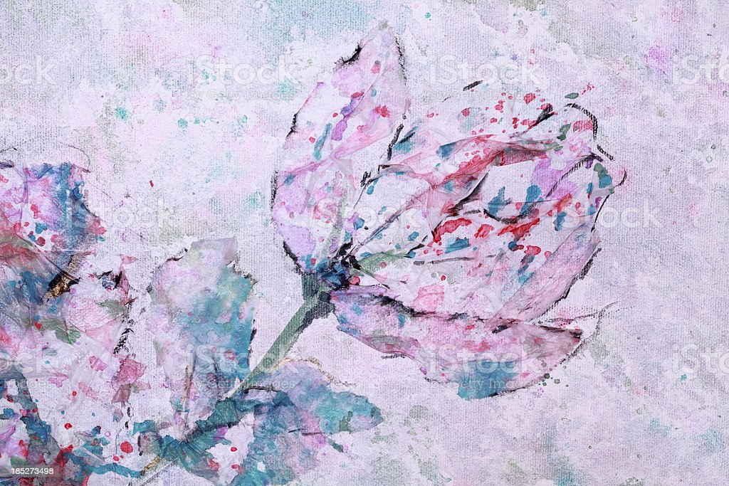 Abstract  Flowers Mixed Media Art vector art illustration