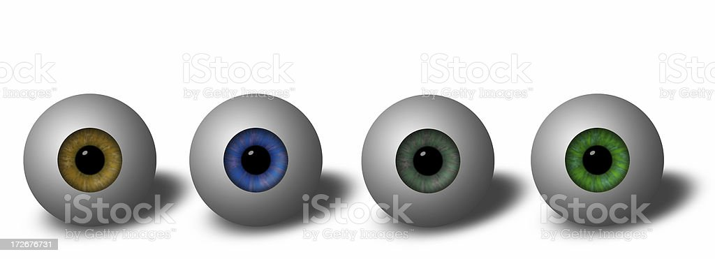 Abstract - Four Artificial Eyes vector art illustration