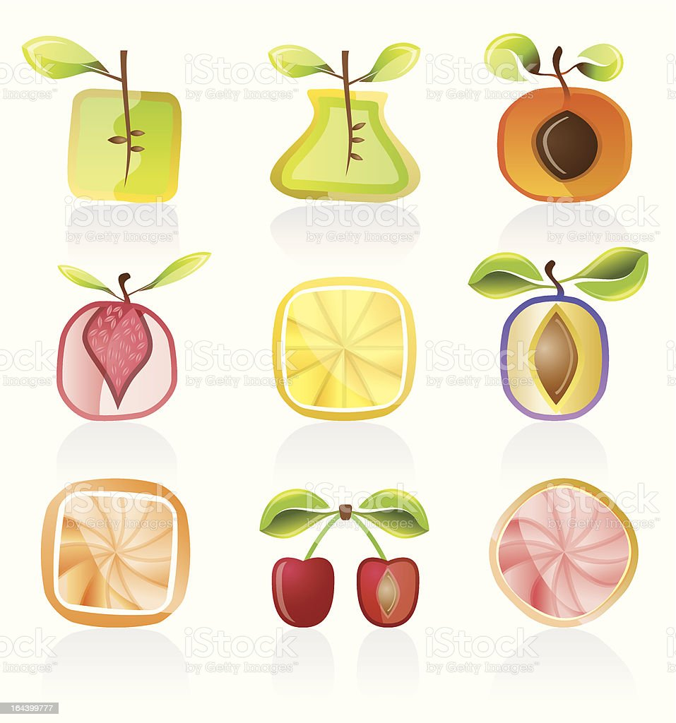 Abstract fruit icons royalty-free stock vector art