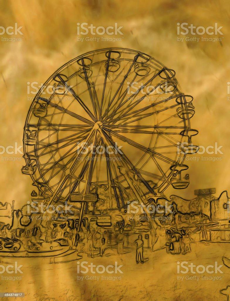 Abstract Golden Ferris Wheel Illustration royalty-free stock vector art