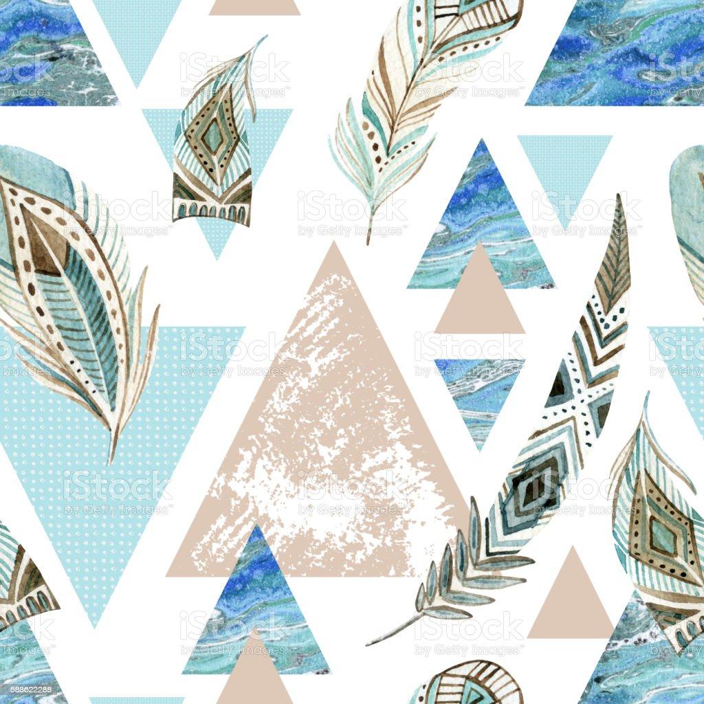 Abstract grunge geometric seamless pattern. vector art illustration