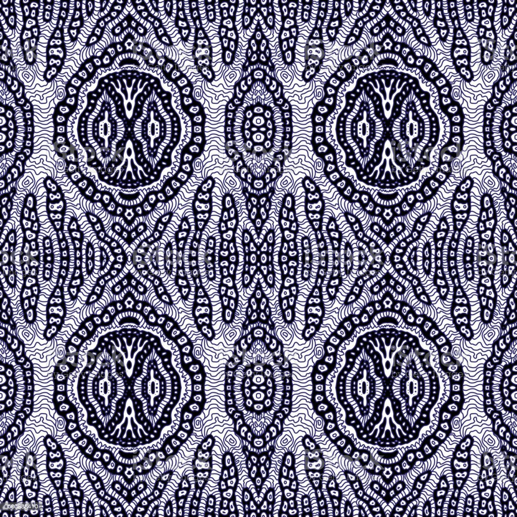 Abstract hand drawn geometrical seamless Ikat pattern from decorative ethnic ornament, Black and white background. Batik, wallpaper, wrapping paper, shibori ornament, tie dye textile print, cotton vector art illustration