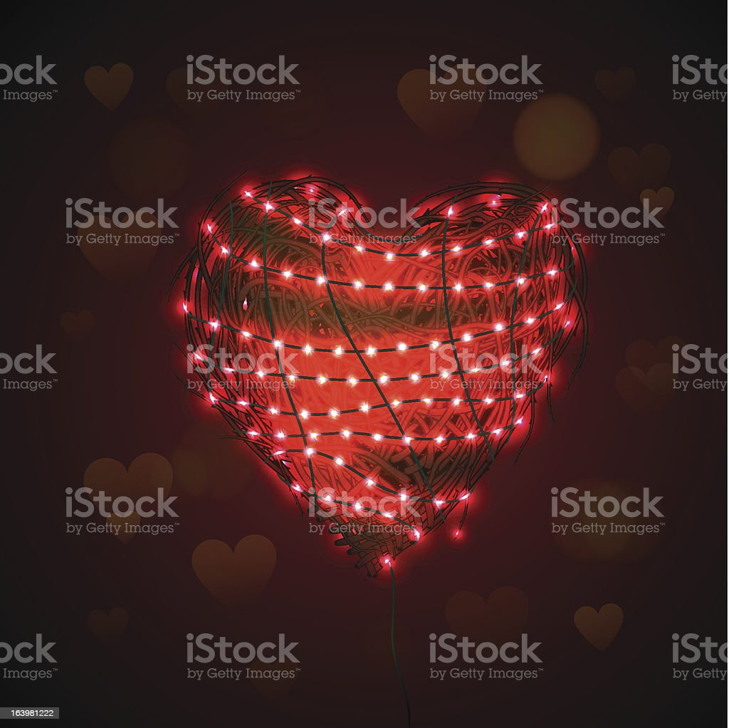 Abstract heart background with luminous garland royalty-free stock vector art
