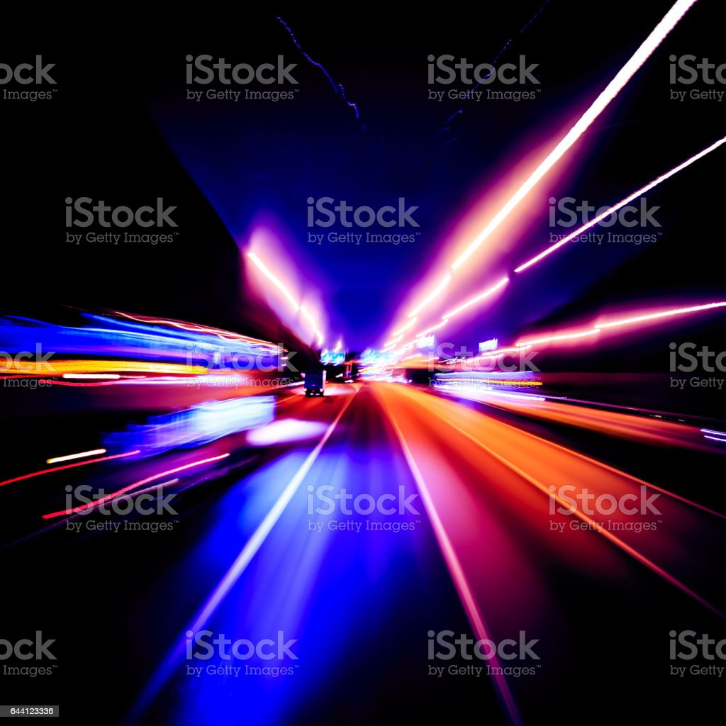 Abstract high speed motion lighting effect stock photo