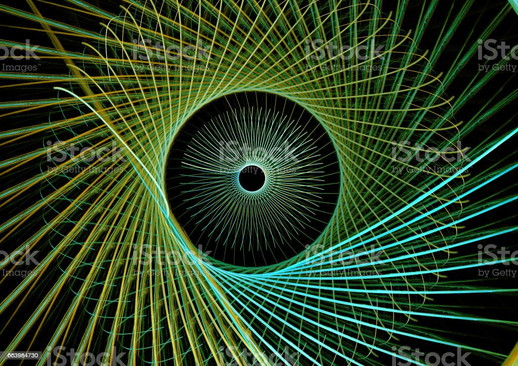 Abstract illustration of a fractal spiral pattern on black background stock photo