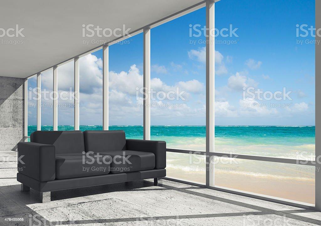 Abstract interior, office room on a sea coast vector art illustration
