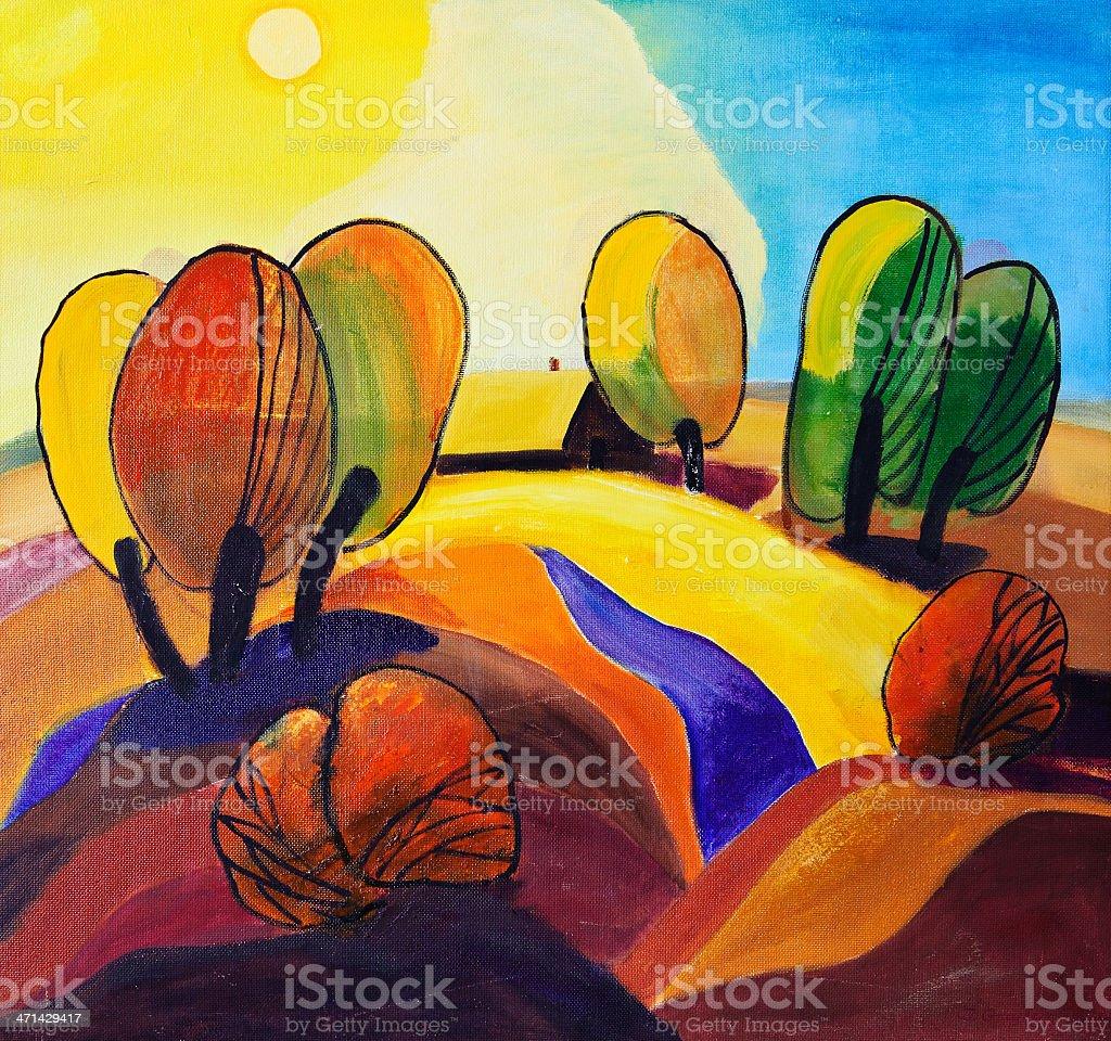 Abstract landscape vector art illustration