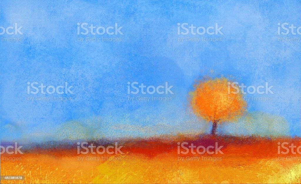 Abstract landscape, tree and field oil painting vector art illustration