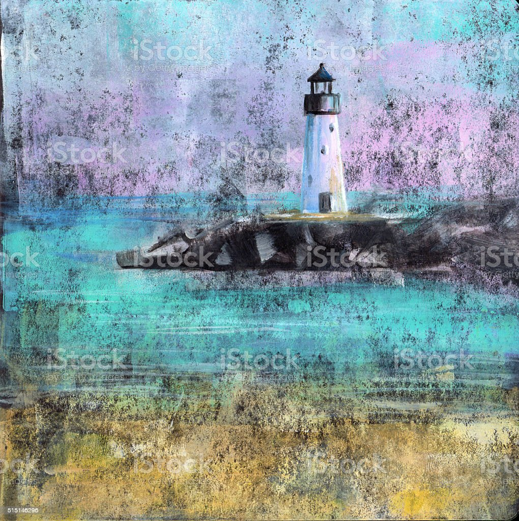 Abstract Lighthouse vector art illustration