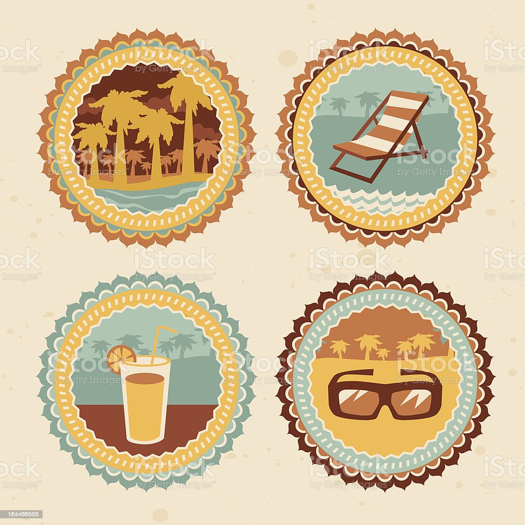 abstract logo - retro labels with summer icons royalty-free stock vector art
