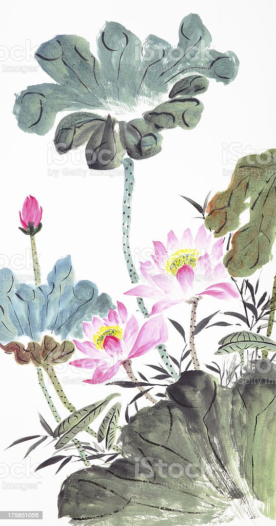 abstract lotus-Traditional Chinese Painting vector art illustration