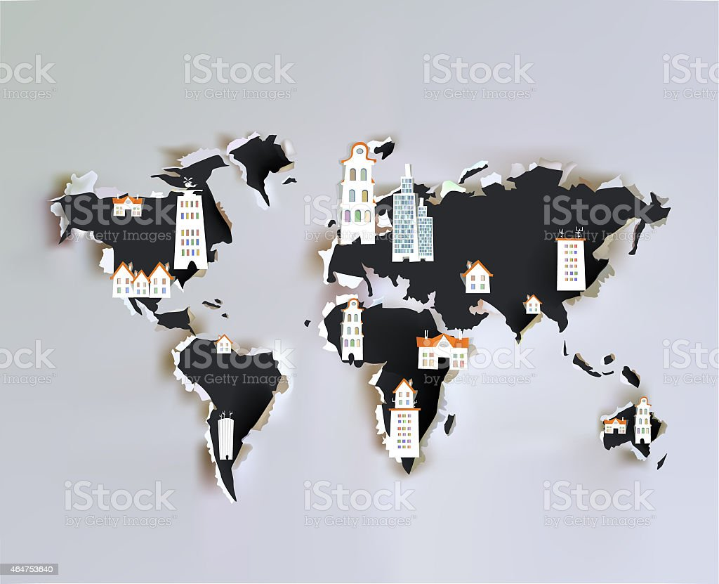 Abstract map and City background vector art illustration