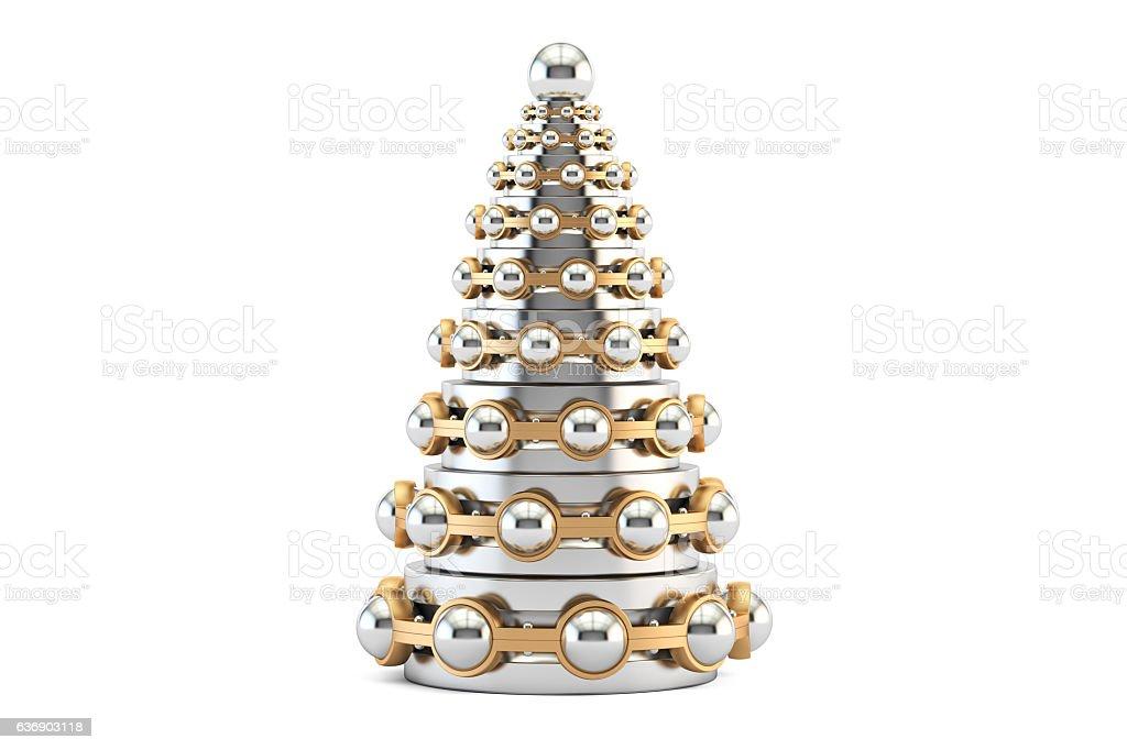 Abstract metallic Christmas Tree from bearings, 3D rendering vector art illustration
