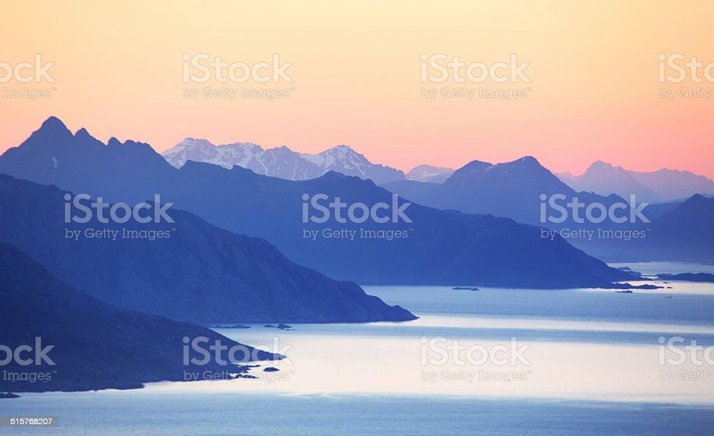 Abstract mountain sunset with ocen vector art illustration