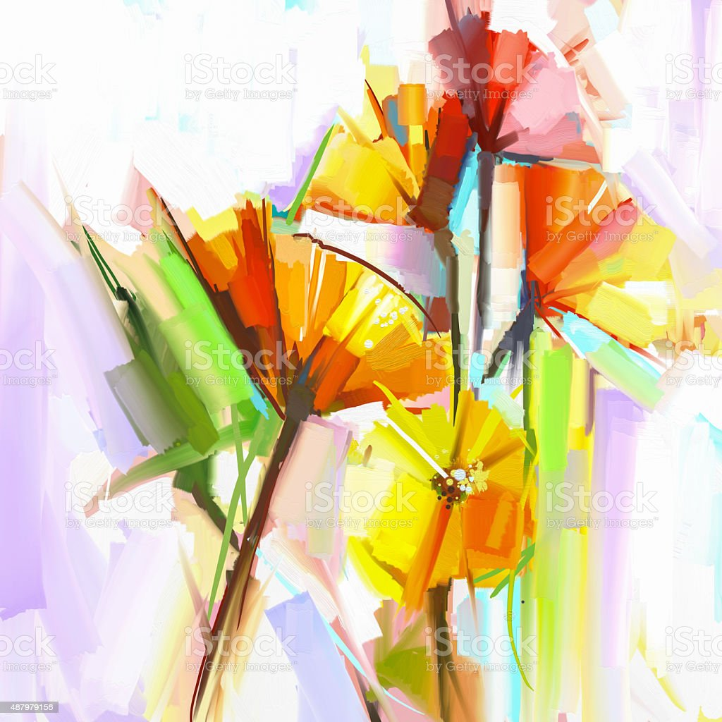Abstract oil painting of spring flowers vector art illustration