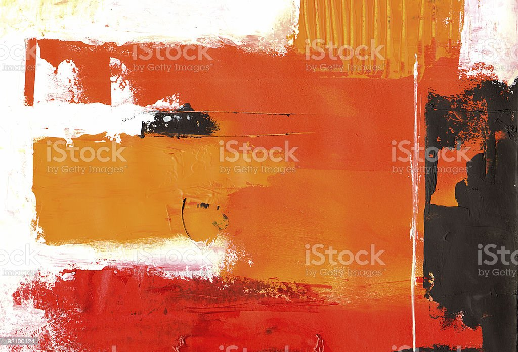Abstract oil panting in shades of red orange and black royalty-free stock vector art