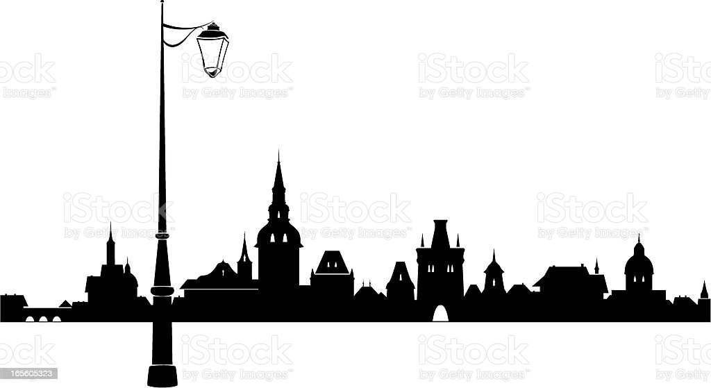 Abstract old town vector art illustration