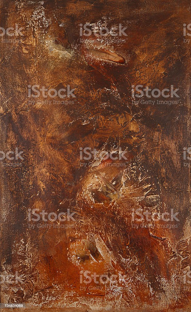 Abstract painted acrylic copper and bronze texture on canvas vector art illustration