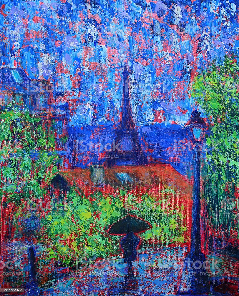 Abstract painting of Paris vector art illustration