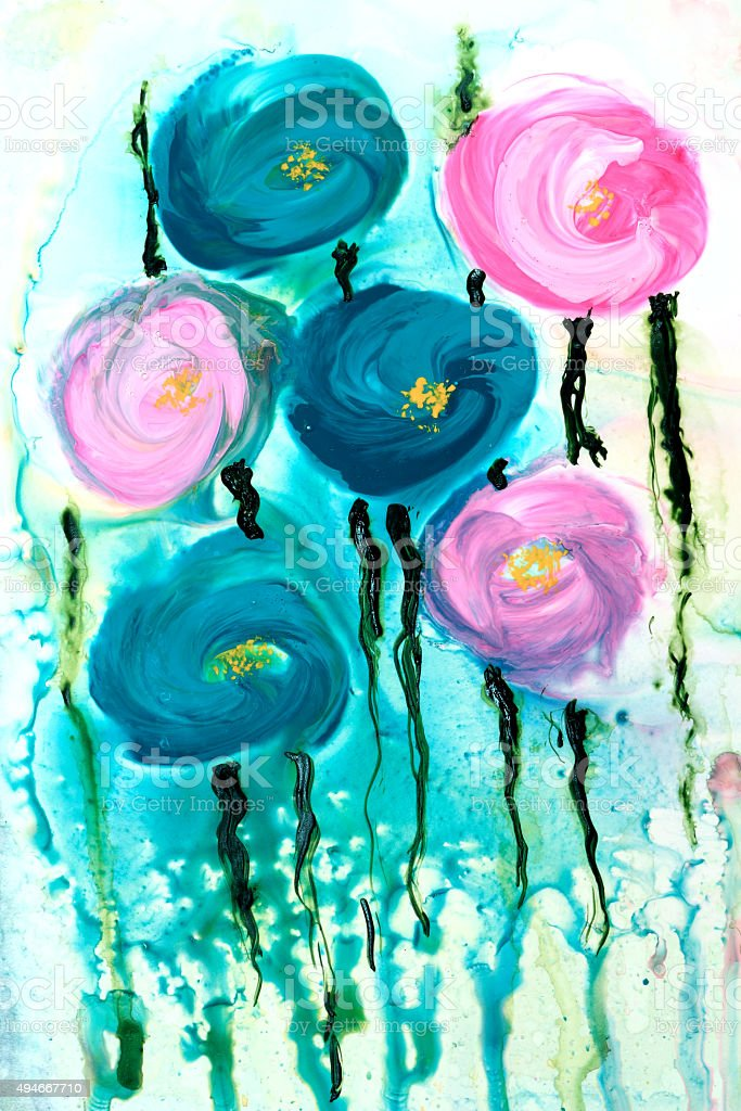 abstracto azul turquesa pintura rosa flores rosas con gotas y las ejecuciones libre de derechos
