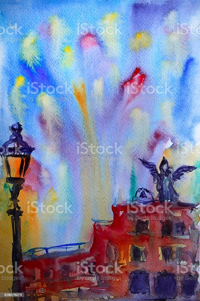 Abstract picture of the Castel Sant Angelo in Rome vector art illustration