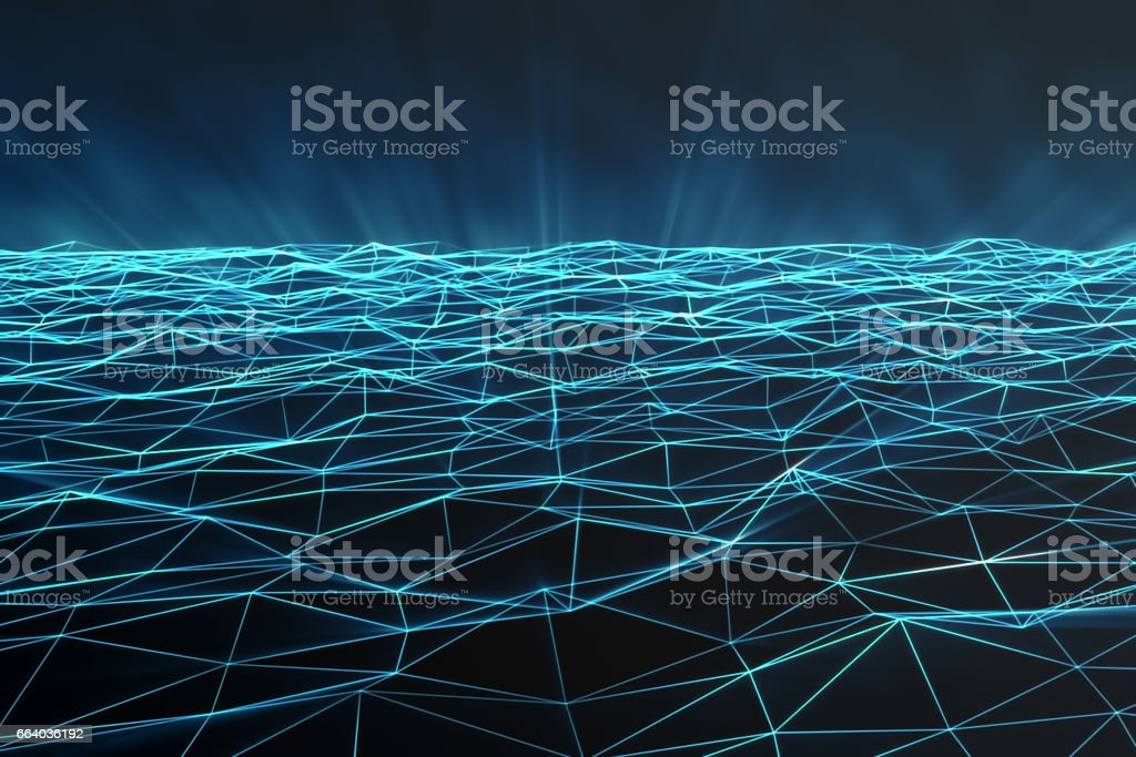 Abstract polygonal space low poly with connecting dots and lines. Futuristic background. Connection structure. 3d rendering stock photo