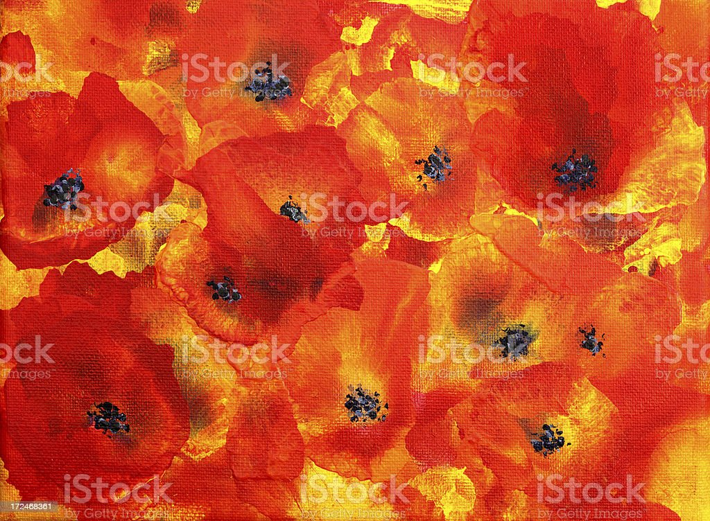Abstract Poppies Art Painting vector art illustration