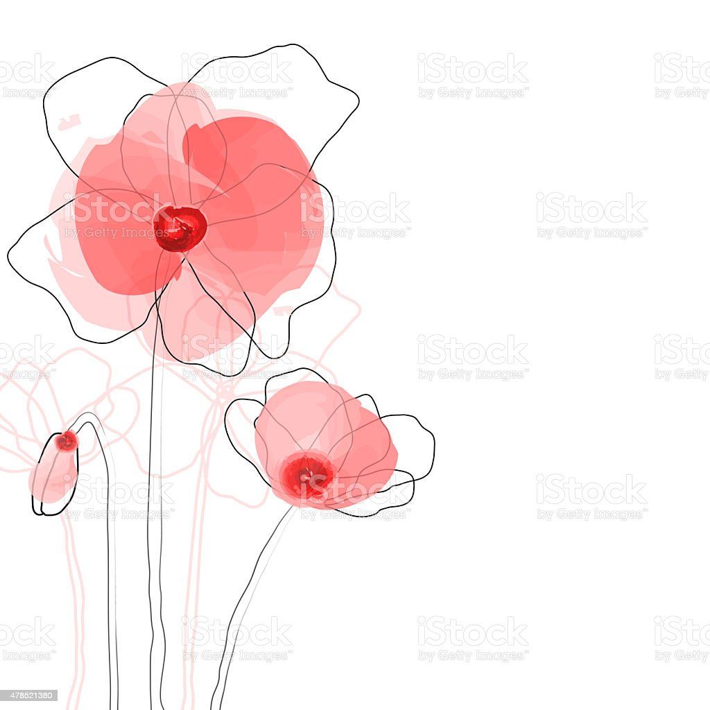 Abstract poppy flowers vector art illustration