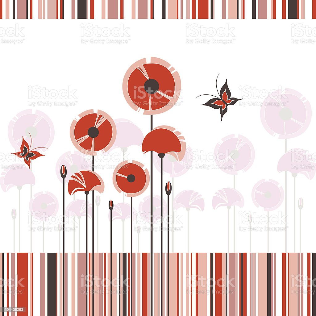 Abstract red poppy on colorful stripe background royalty-free stock vector art