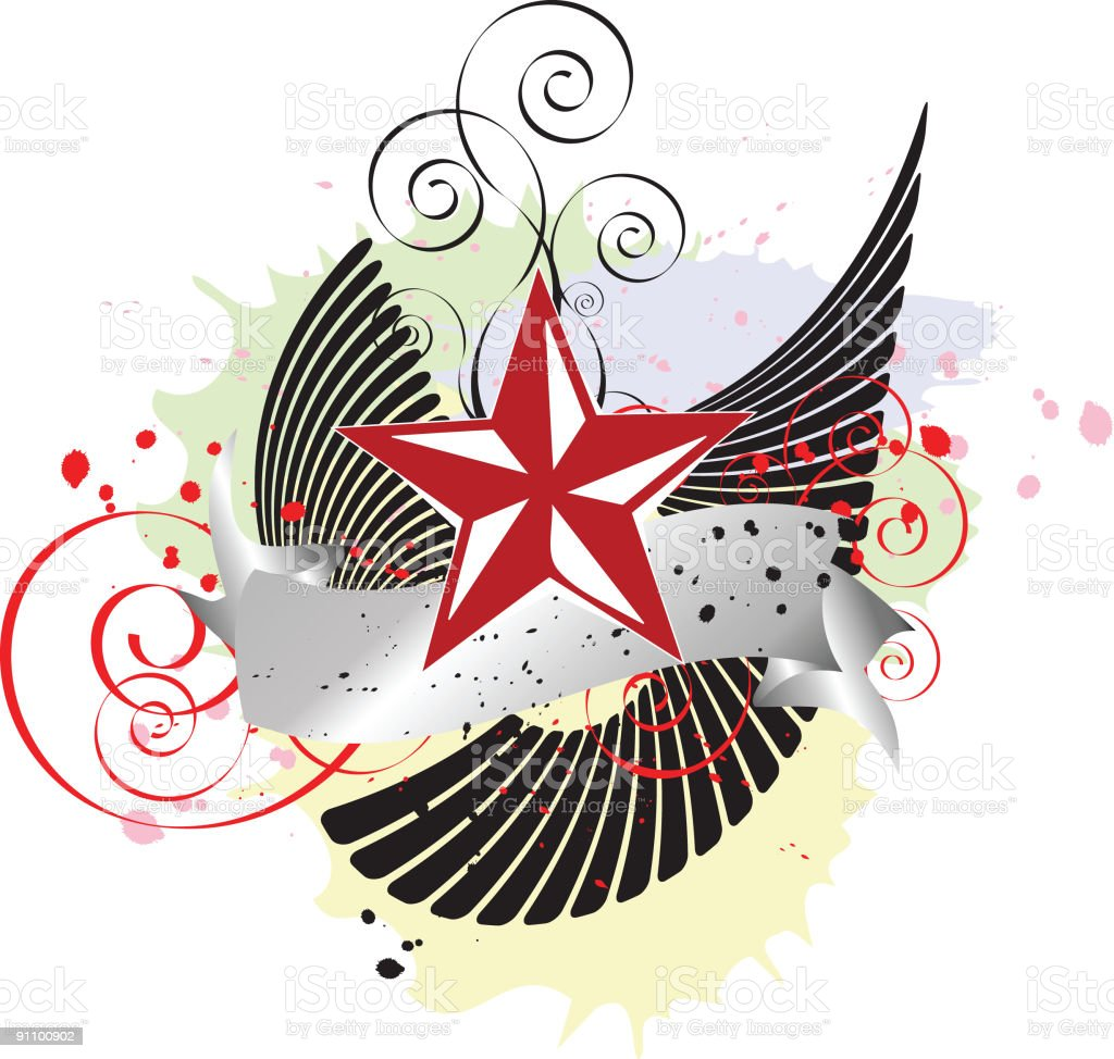 Abstract Red Star Banner royalty-free stock vector art