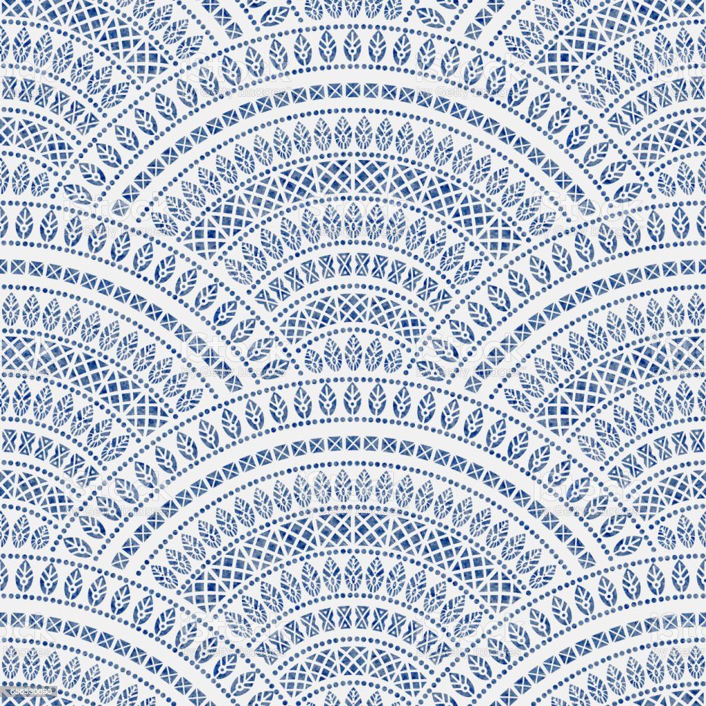 Abstract seamless geometrical background from blue fan shaped ornate elements with ethnic patterns on a white background. Watercolor painting texture.Folklore, tribal. Art deco wallpaper, wrapping paper, batik paint, textile print, covering vector art illustration