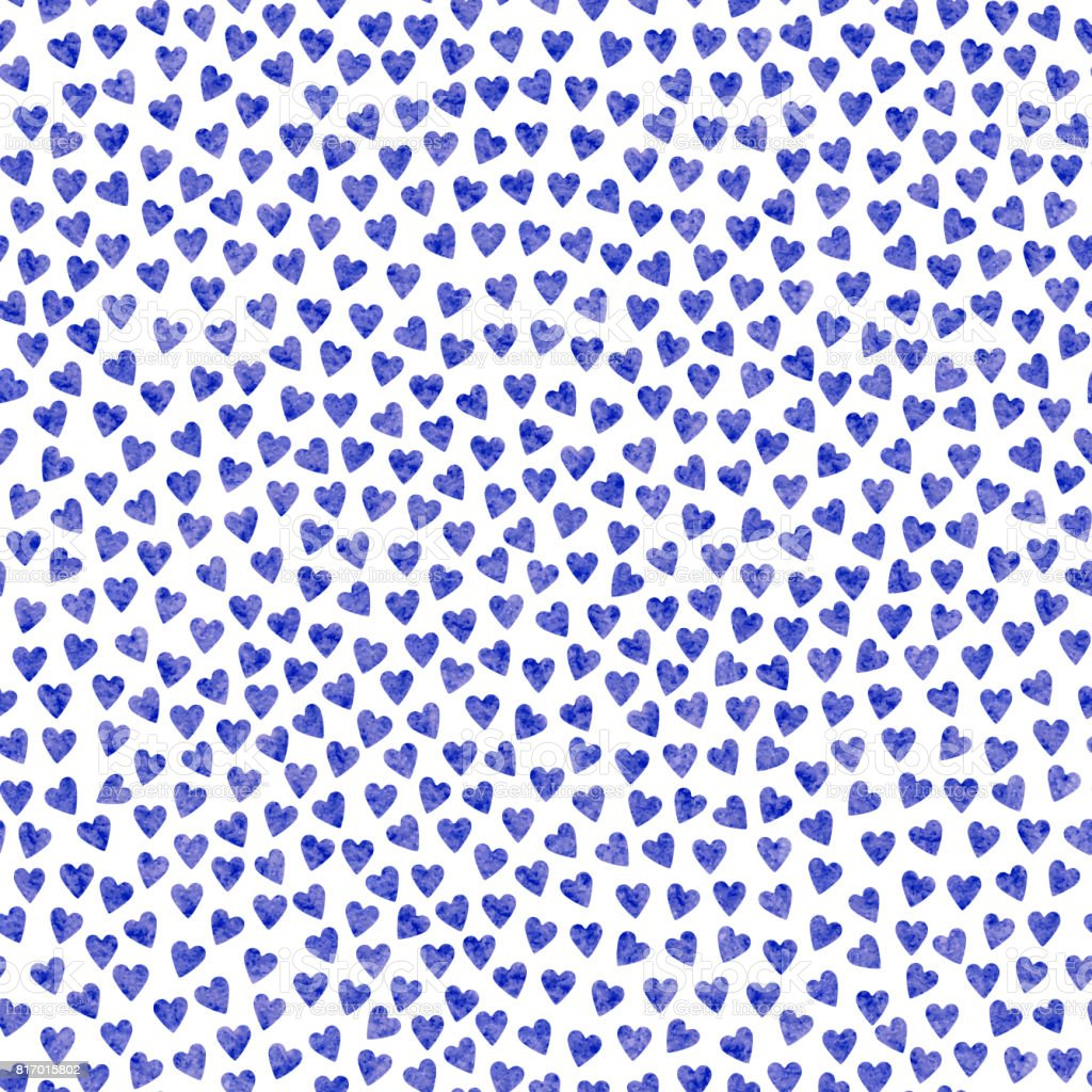 Abstract seamless pattern from stylized blue hearts with watercolor painting rexture on a white background.Valentine Day ornament. Holiday wrapping paper, simple textile print, wallpaper vector art illustration