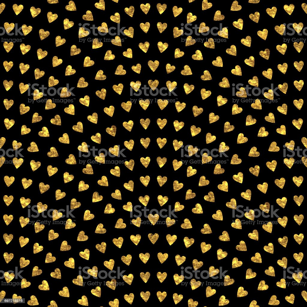 abstract seamless wavy pattern with geometrical fish scale layout. Gold stylized  hearts on a dark black background. Fan shaped Valentine Day ornament. Holiday decoration. Wallpaper, holiday wrapping paper, textile design, batik paint vector art illustration