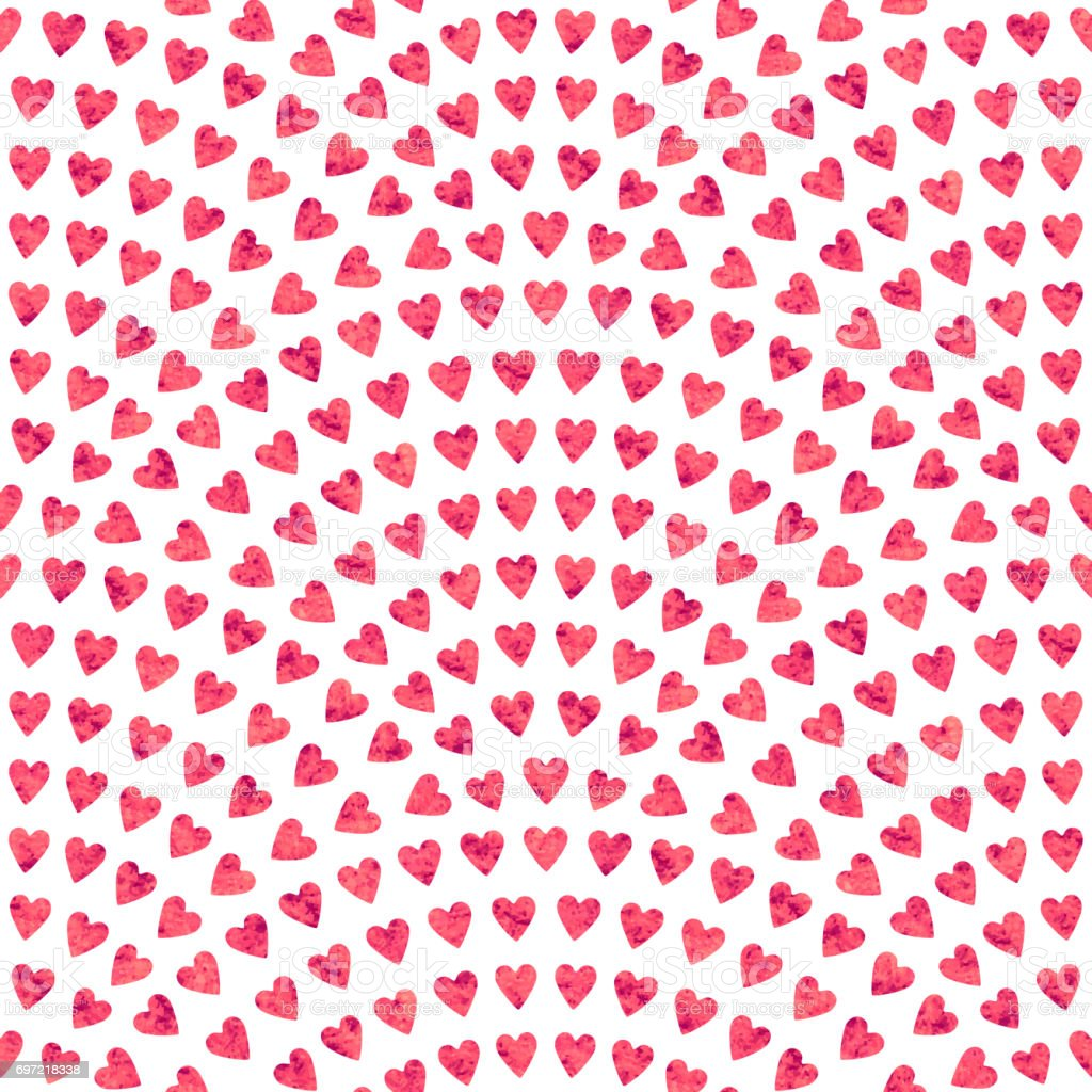 abstract seamless wavy pattern with geometrical fish scale layout. Red mosaic stylized hearts  with watercolor painting texture on a light white background. Fan shaped Valentine Day ornament. Holiday decoration.Wrapping paper vector art illustration