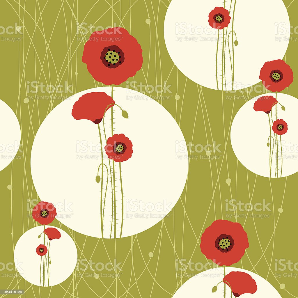 Abstract springtime red poppy seamless pattern vector art illustration