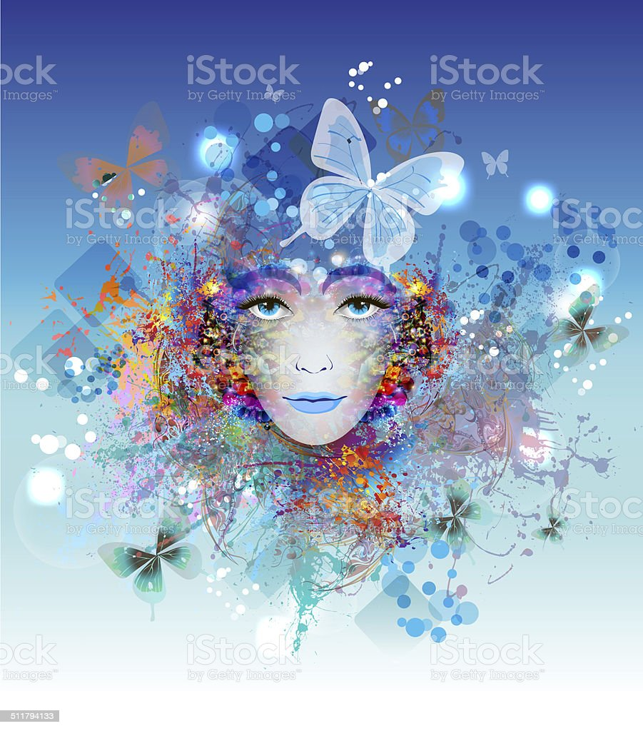 Abstract spting background with woman face vector art illustration