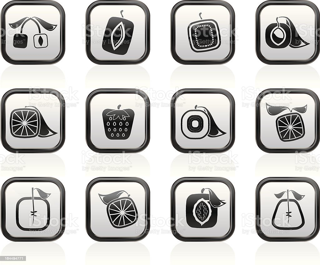 Abstract square fruit icons royalty-free stock vector art