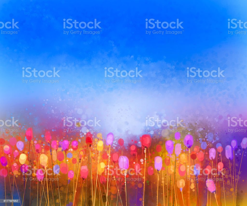 Abstract tulip flower field watercolor painting vector art illustration