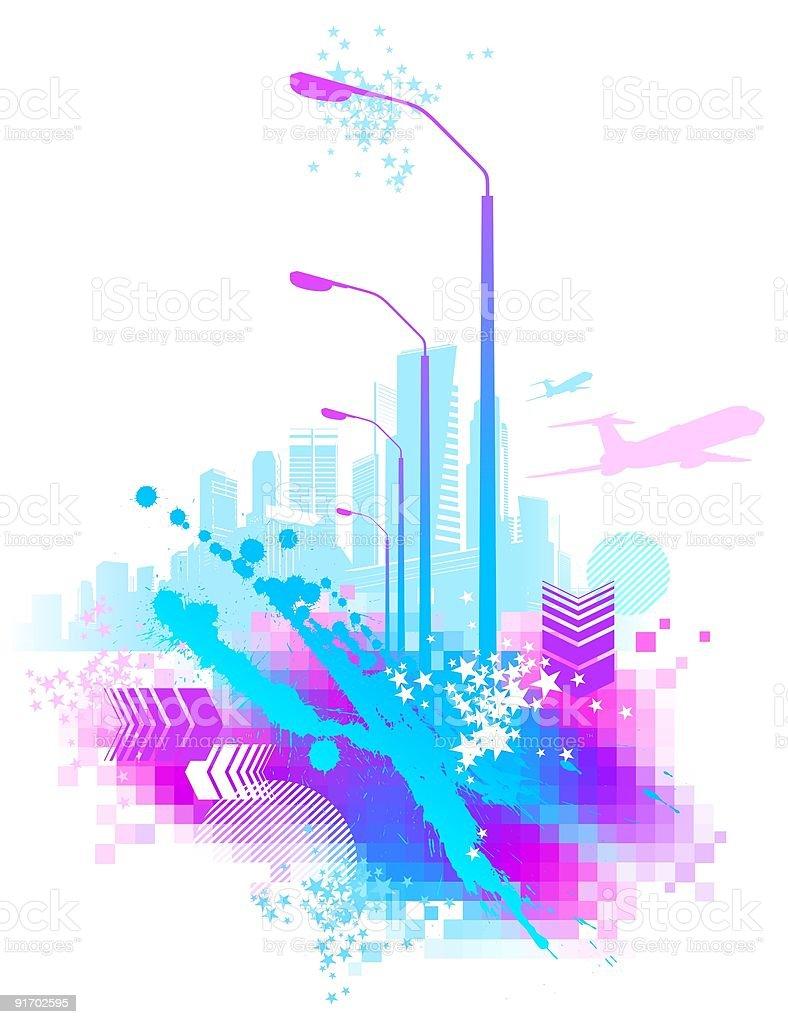 Abstract urban scene royalty-free stock vector art